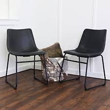 we furniture black faux leather dining chairs set of 2