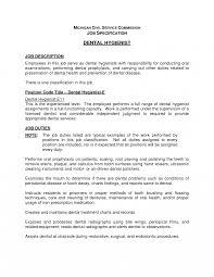 Resume Stunning Dental Hygienist Job Description Sample Hygiene