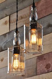 whisky bottle lamp with vintage pulley