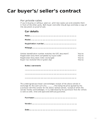 Purchase Agreement Vehicle Automobile Contract Private Car Contract Template Endowed Original