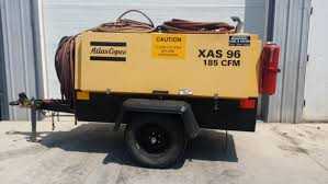 commercial air compressor. atlas copco xas 96 trailer mounted diesel air compressor 116 psig 185 cfm used commercial o