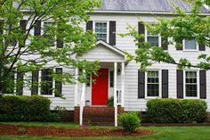 red front door white house. White House. Red Door. My House.Quiet Street. Front Door House