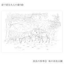 あかしや ぬり絵 彩で彩る大人の塗り絵 奈良の四季 4枚セット Ao 50nbau Wowmaワウマ