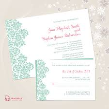 damask border invitation and rsvp set larr printable invitation kits damask border wedding invitation