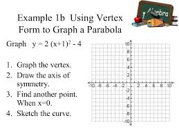 example 1b using vertex form to graph a parabola