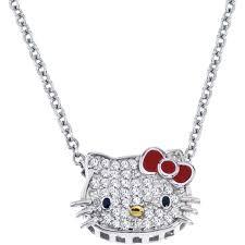 hello kitty sterling silver 1 10 ctw diamond pendant
