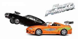 toyota supra fast and furious green. dodge charger and toyota supra from fast furious in black orange 1 green r