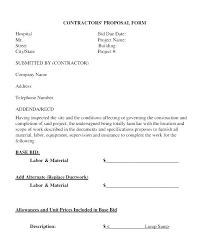 Free Proposal Forms Gorgeous Contractor Bid Proposal Template Free Forms Templates Estimate