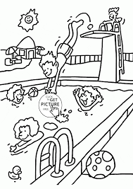 Summer Fun At The Pool Coloring Page For Kids Seasons Coloring