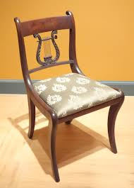 Side chair copy of Duncan Phyfe by Henry Hagen and Frederick Hagen New York c 1926 mahogany metal modern upholstery Brooklyn Museum DSC JPG
