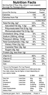 photos of nutritional information for smart pop popcorn