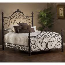wood and iron bedroom furniture. enchanting wrought iron headboard with luxury white bedding and interior potted plant on laminate wood flooring for elegant master bedroom design furniture