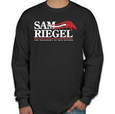 Long Sleeve Shirt With Design On Sleeve Sam Riegel For President Of D Long Sleeve T Shirt