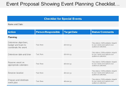 Event Planning Proposal Event Proposal Showing Event Planning Checklist With Action