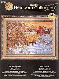Bucilla Heirloom Collection Counted Cross Stitch Kit 16 By 11 5 Inch 45769 Fox Hiding Place
