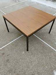 Designed by florence knoll in the 1950s, this simple coffee table has four square legs of chromed steel. Florence Knoll Wood Laminate Bronze Side Or Coffee Table Ebay