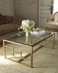 Contemporary Glass Gold Frame Coffee Table
