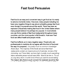 fast food persuasive writing gcse english marked by teachers com document image preview