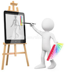 3d artist artist painting in a tablet pc stock ilration ilration of drawing