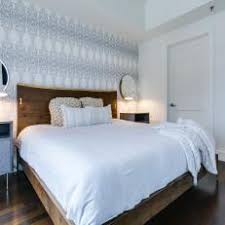 bedroom accent wall. Gray Contemporary Bedroom With Wallpaper Accent Wall Bedroom Accent Wall