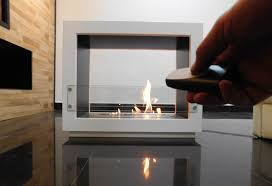 free standing ethanol fireplace afire