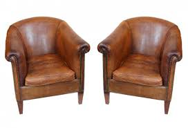 vintage leather club chairs pair
