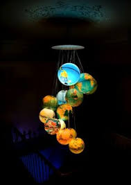 world inside out a chandelier made out of recycled world globes aussie lighting world