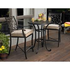 high dining outdoor tables. best dining in the garden using elegant dark wrought iron outdoor bistro set with beige cushion high tables
