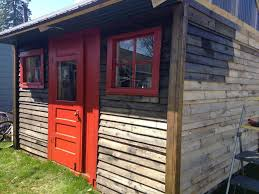 upcycled wooden pallet shed