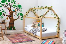 treehouse style natural pine kids wooden single bed frame