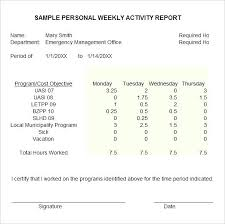 Example Sample Personal Weekly Activity Report Template Work