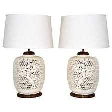pair of reticulated porcelain blanc de chine lamps for