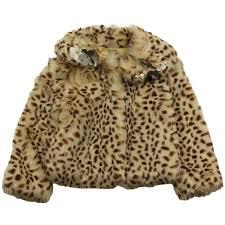 kate mack leopard print fur coat brown