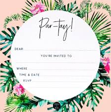 Tropical Party Invitations Tropical Palm Party Invitation Set Danger Moon