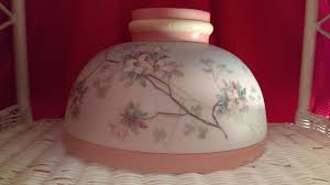 vintage hand painted milk glass lamp shade for aladdin or rayo type lamp 9 3 4