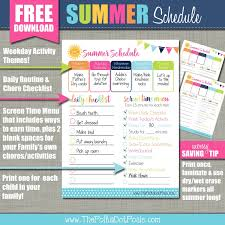 The Polka Dot Posie Summer Schedule With Screen Time Minute