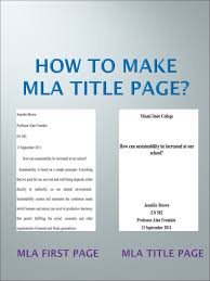 Mla Title Page Step By Step