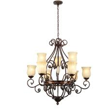 hampton bay freemont collection 9 light hanging antique bronze chandelier with glass shades