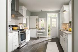 Fascinating White Kitchen Cabinets Set With Grey Wall Colors Granite