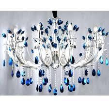 blue crystal chandelier modern peacock aqua