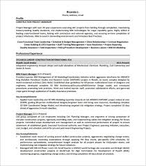 Construction Project Manager Resume Free Senior Project