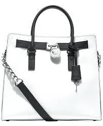 leather purse and large tote in optic white black hamilton saffiano large leather