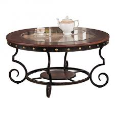 round wrought iron coffee table with glass top and nailhead for home furniture idea