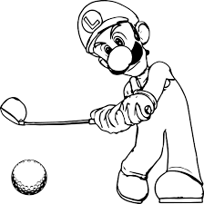 Golf Coloring Pages Super Mario Luigi Page Best Free Coloring