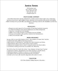 Resume Templates: Head Start Teacher