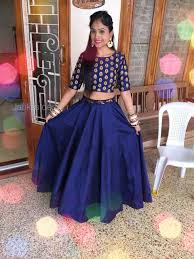 Designer Crop Top And Skirt Blue Indian Crop Top For Wedding By Jankis Design Indian