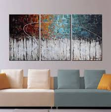 amazon artland hand painted color forest 3 piece gallery wrapped abstract oil painting on canvas wall art decor home decoration 24x48 inches paintings on 3 piece abstract canvas wall art with amazon artland hand painted color forest 3 piece gallery