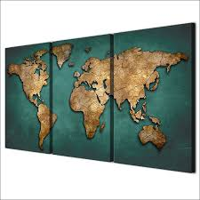 World Map Posters Canvas Prints Paintings Wall Art Framework Fashion Vintage Continent Pictures 3 Pieces World Map Posters Living Room Home Decor
