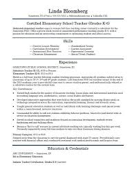 School Resume Simple Elementary School Teacher Resume Template Monster