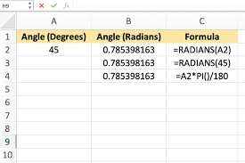 Angle Conversion Chart How To Convert Angles From Degrees To Radians In Excel